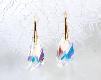 Clear white earrings Bridal crystal earrings SWAROVSKI crystal earrings Gold crystal earrings SWAROVSKI gold earrings Bridal earrings 768