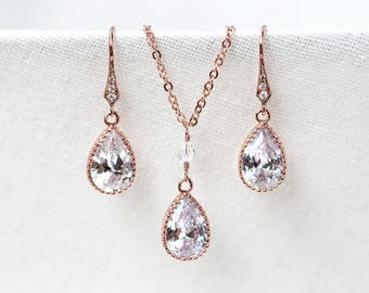 Rose gold bridal crystals set, Rhinestone necklace, Rhinestone earrings, Pink gold crystals jewelry, Necklace and earrings zirconia set 418
