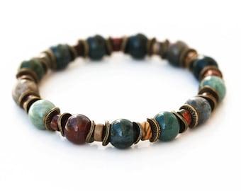 762_ Bronze beads bracelet, Green mens beaded bracelet, Brown agate bracelet, Multi colored beads bracelet, Bronze picasso jasper bracelet.