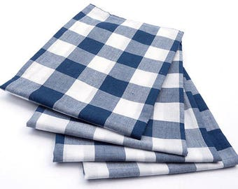 Cloth Napkins - Large Navy Blue and White Gingham Cloth Napkins - Buffalo Check - Set of 4 - Dinner Napkins