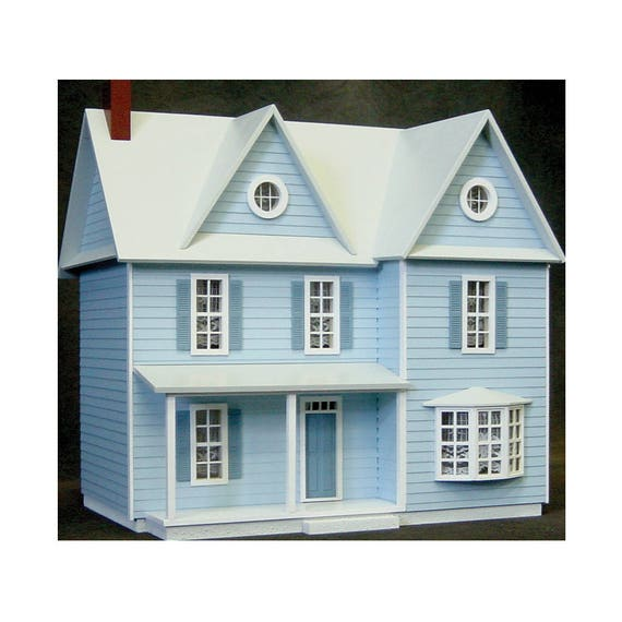 Wooden Dollhouse Kit, Spacious Country Farmhouse, Half Inch Scale