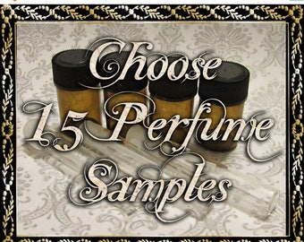 SALE Perfume Oil Samples: Choose Fifteen (15) 1mL or 2mL Samples, Perfume Oil, Cologne Oil, Natural Fragrance, Ships Out in 5-7 Days