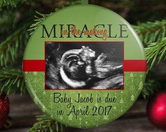 Expecting A Baby Christmas Ornament - Pregnancy Announcement - Ultrasound Ornament - Sonogram Ornament