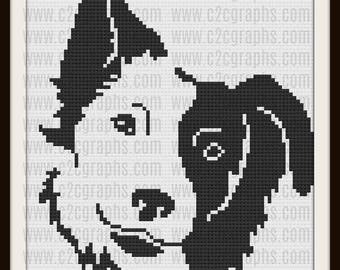 Border Collie Afghan, Border Collie Crochet Pattern, Border Collie C2C Graph, Corner to Corner, Border Collie Afghan