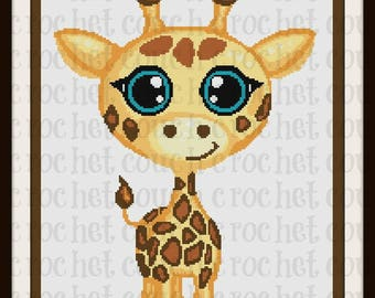 Giraffe Baby SC Graph, Word Chart, Giraffe Baby Afghan