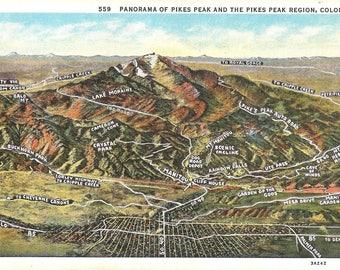 Vintage Linen Postcard...Colorado, Pike's Peak, Panoramna of Pike's Peak and Pike's Peak Region...Unused...no. CO0006