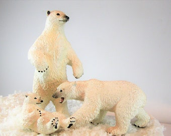 1950's Polar Bears. Cake Topper. Family of Three Solid Plastic Characters. Intricate Details.