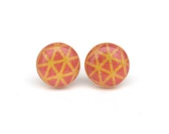 Pink and Orange Stud earrings, Hypoallergenic earrings, Gift for her