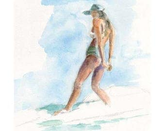 Watercolor Girl Surfing, Girl Surfing Painting, Girl Surfing Print, Girl Surfing Art, Surf Art, Surfing Painting