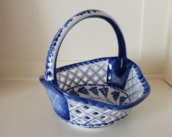 Wekma USSR Porcelain Basket in Blue and White Hand Painted Soviet Union Folk Art