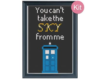 Cross Stitch Kit - You Can't Take The Sky From Me, Tardis, Doctor Who, Firefly, Geeky Gift Idea, Unique Home Decor, Modern Embroidery