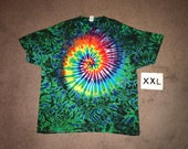 Tie Dye T-Shirt ~ Rainbow Spiral with Aqua Scrunch i-7870 in XXL