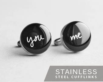 You and Me cufflink, Stainless steel cuff, Wedding Cuff Link, engagement cufflink, Gift for Him, for men, anniversary gift