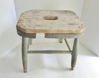 Vintage Stool Rustic Wood Blue Chipped Paint Milking Stool Step Stool Foot Stool