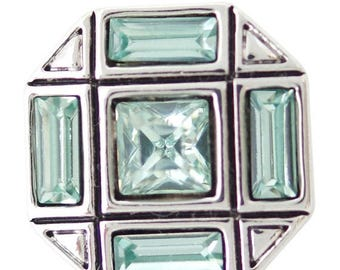 1 PC 18MM Green Octagon Rhinestone Silver Candy Snap Charm ds5155 CC1670
