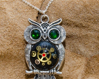 Tibetan Silver Steampunk Owl Necklace. Hand Made in Cornwall, UK.