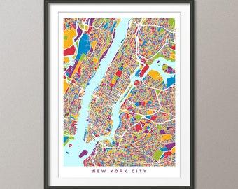 New York City Map USA, Street Map of New York City, Art Print (2960)