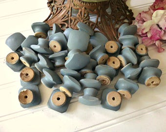 Lot of Thirty Nine Blue/Grey Wooden Used Drawer Knobs,  Handles,  Pulls