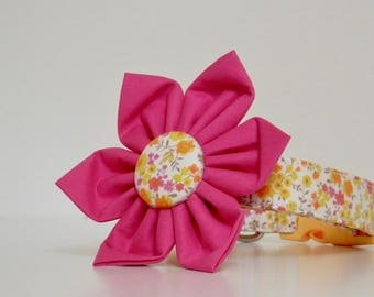 Floral Yellow Pink Flower Dog Collar Easter Collar Wedding Accessories Made to Order
