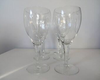 "Etched Monogram ""K"" Wine Glasses - Set of Six"