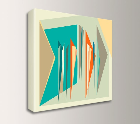 "Abstract Art, Modern, Mid Century Art, Canvas Wrap, Mid Century Modern, Geometric Art, Wall Art, Orange, Teal, Beige, and Tan - ""Intermix"""