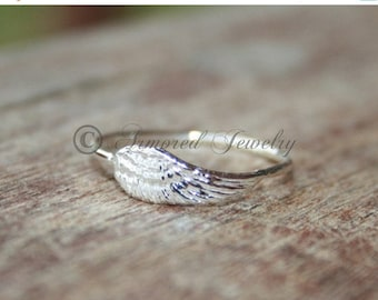 INDEPENDENCE DAY SALE Angel wing ring 2 - Sterling silver Angels - delicate dainty simple - stackable stacker stacking stack ring bible reli