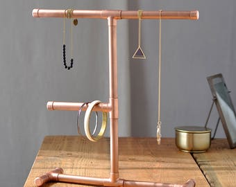 Copper pipe jewellery stand for necklaces for Copper pipe jewelry stand