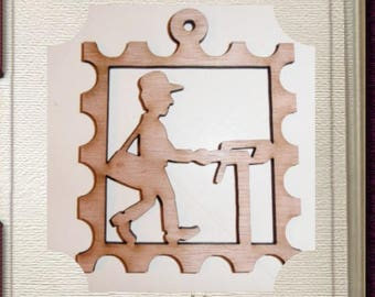 Mail Carrier Christmas Ornament - Laser Cut Wood