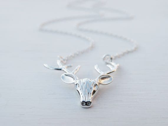 Silver Reindeer Necklace, Sterling Silver