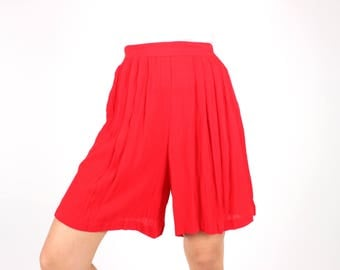 "80s Cherry Red Longer Length ""Mom"" Cut Simple High Elastic Waist Rayon Gauze Flared Leg Long Culotte Shorts"