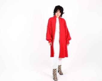 80s Balloon Sleeve Ruby Red Textured Cable Knit Long Slouchy Poet Slv Oversized Cardigan