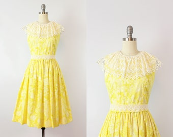 vintage 60s LILLY PULITZER dress / 1960s floral sundress / blue yellow floral print dress / lace applique dress / The Lilly designer dress