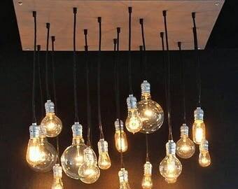 Summer Promo Grey Industrial Chandelier With  18 Edison Style Bulbs - Pendant Chandelier