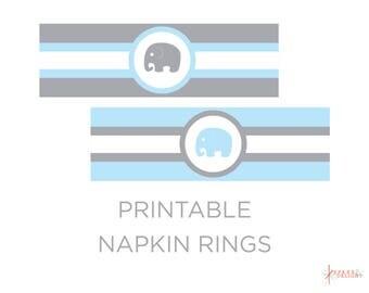 Printable Napkin Rings - Elephant Baby Shower - Elephant Napkin Rings - Elephant Baby Shower Theme - Boy Baby Shower - Napkin Rings