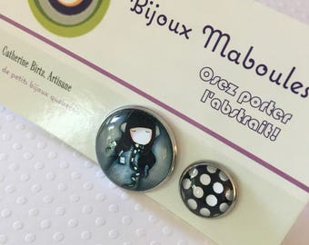 "Boucles d'oreilles ""listen the music in polka"", earrings , hypo, acier chirugical, 20mm , 12mm"