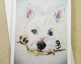 West Highland White Terrier Note Cards, Westie Note Cards, Westie Stationery, Westie Gifts, Westie Gift Cards, Cards with Westie
