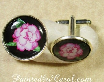 Camellia Cufflinks, Camellia Mens Jewelry, Camellia Bridal Jewelry, Camellia Wedding Jewelry, Camellia Gifts, Pink Flower Cufflinks