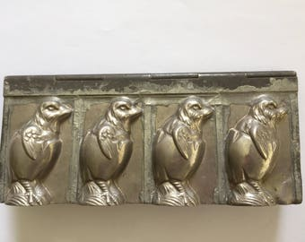 Antique Hinged Metal Chocolate Mold  '' 4 Chicks'', Riecke & CO, Bergisch Gladbach, Germany