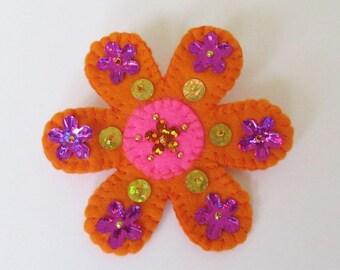 Boho flower brooch, felt flower brooch, boho jewelry, handmade brooch, flower pin, flower jewelry, orange  flower brooch, hippy brooch