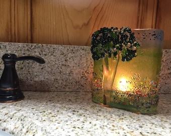 "Majestic Tree Candle Light, 4""x 5""x2"" fused Glass Sun Catcher"