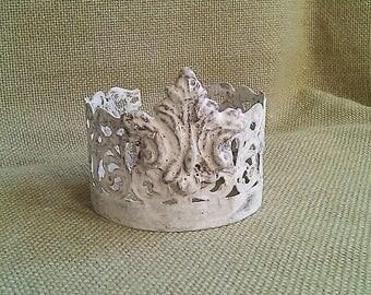 Crown/Tiara, Handmade w/Vintage Salvaged Metal and Clay, Ornate Details