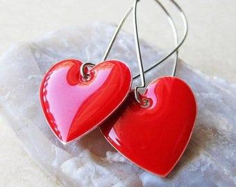 20% off sale Dangle Drop Earrings - Bright Red Epoxy Enamel Hearts - Sterling Silver Plated over Brass (F-1)