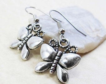 40% OFF Dangle Drop Earrings - Silver Pewter Metal Whimsical Butterfly Charms - Surgical Steel Ear Hooks (H-107)