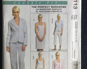 McCalls Misses Womens Lined Jacket Dress Top and Pants in Two Lengths Sewing Pattern M5113  UC Uncut FF Size  10 12 14 16