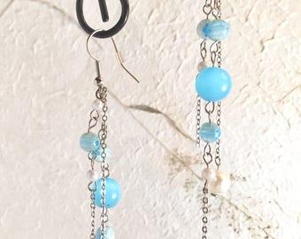 Blue and Silver Multi-strand Drop Earrings, Handmade