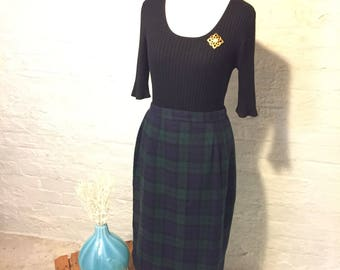 Pencil Skirt, Green and Blue Wool Plaid, Christy Girl by Dori Adler