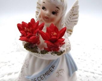 """Vintage Lefton December Little Angel Figurine,  Lefton """"December"""" Birthday Angel Figurine Poinsettia Flowers, Lefton Birthday Figurines"""
