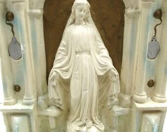 Vintage Chalk Ware Miraculous Medal Madonna Altar,  Vintage Penna Statuary Roman Catholic Mary Devotional Altar, Our Lady of Grace Altar