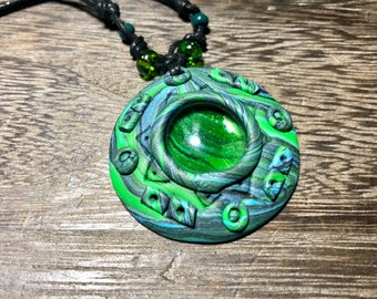 Green polymer clay necklace