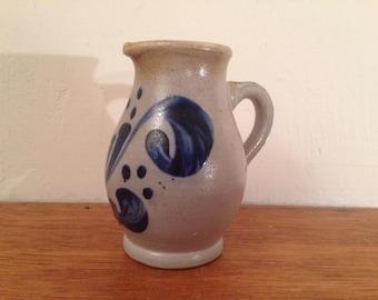 "Vintage Salt Glazed Small Pitcher / Large Creamer w/ Blue Decoration 5.5"""